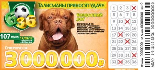 Билет 107 тиража лотереи 6 из 36
